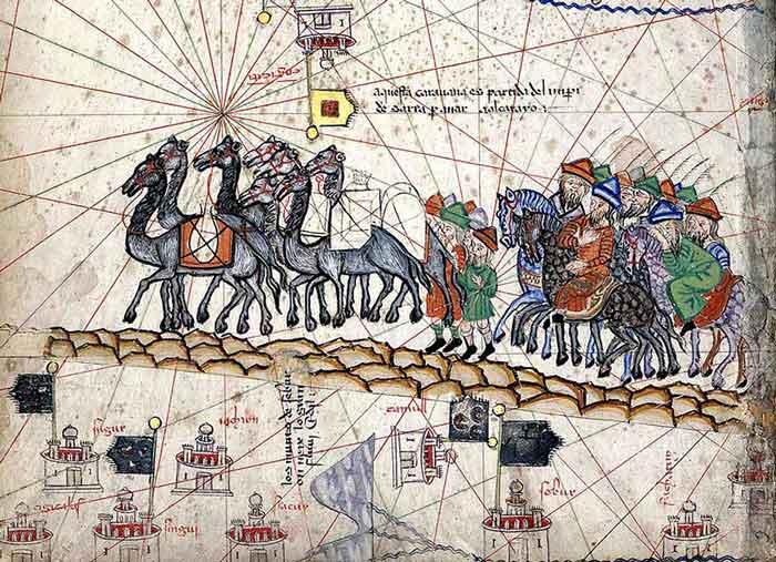 Marco Polo's caravan from the Catalan Atlas  (Abraham Cresques, Atlas catalan, Public domain, via Wikimedia Commons)